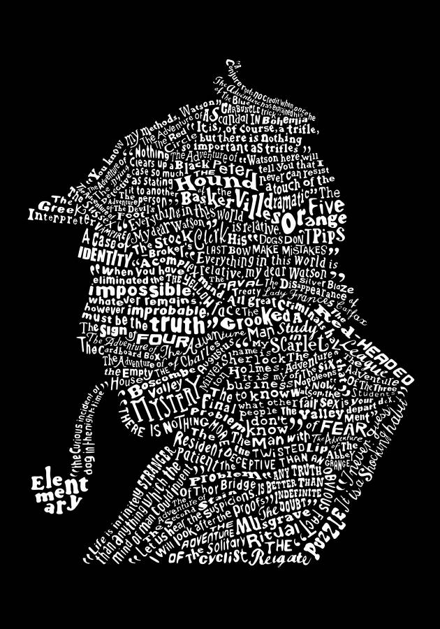 Typographic Sherlock Holmes Print By Run For The Hills