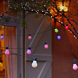 Colour Bulb Solar LED String Lights - lighting