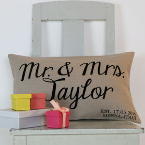 Luxurious Linen Wedding Cushion - personalised wedding gifts