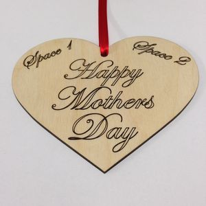 Personalised Mothers Day Wooden Hanging Heart