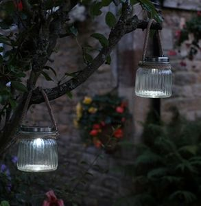 Pair Of Solar Powered Cornish Jam Jar LED Lanterns - outdoor lights