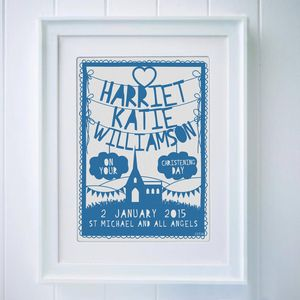 Personalised Christening Papercut - posters & prints for children