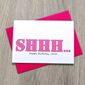 Personalised 'Shhh' Secret Birthday Card - birthday cards