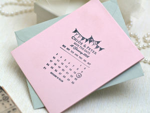 Calendar Bunting Save The Date Stamp - wedding stationery