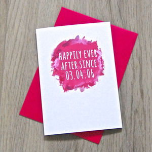 Personalised Watercolour 'Happily Ever After' Card