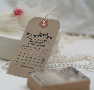 Calendar Bunting Save The Date Stamp - diy stationery