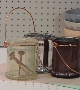 Ivory Glass Jar Tea Light Holder With Copper Handle