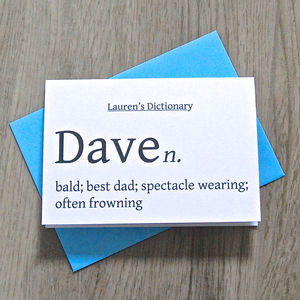 Personalised Dictionary Definition Card