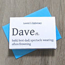 Thumb personalised dictionary definition card