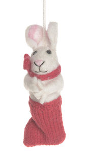 Handmade Felt Bunny In Stocking - easter decorations