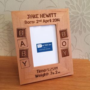 Personalised Baby Birth Date Photo Frame - children's pictures & prints