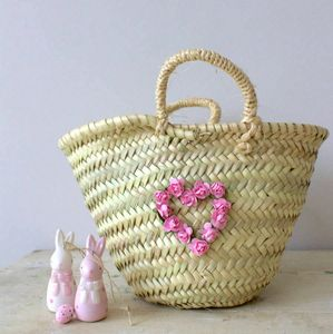 Wicker Basket With Paper Rose Heart - bedroom
