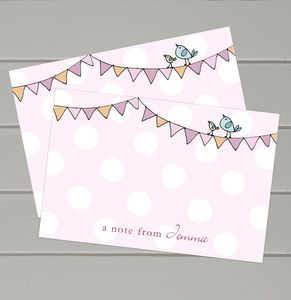 Personalised Thank You Bunting Notecards - thank you cards