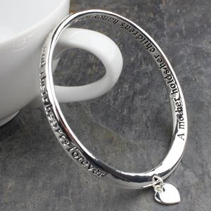 'A Mother Holds Her Childrens Hands…' Silver Bangle