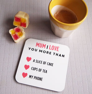 Personalised I Love You More Coaster - token gifts