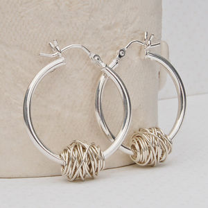 Sterling Silver 'Entwined' Hoop Earrings