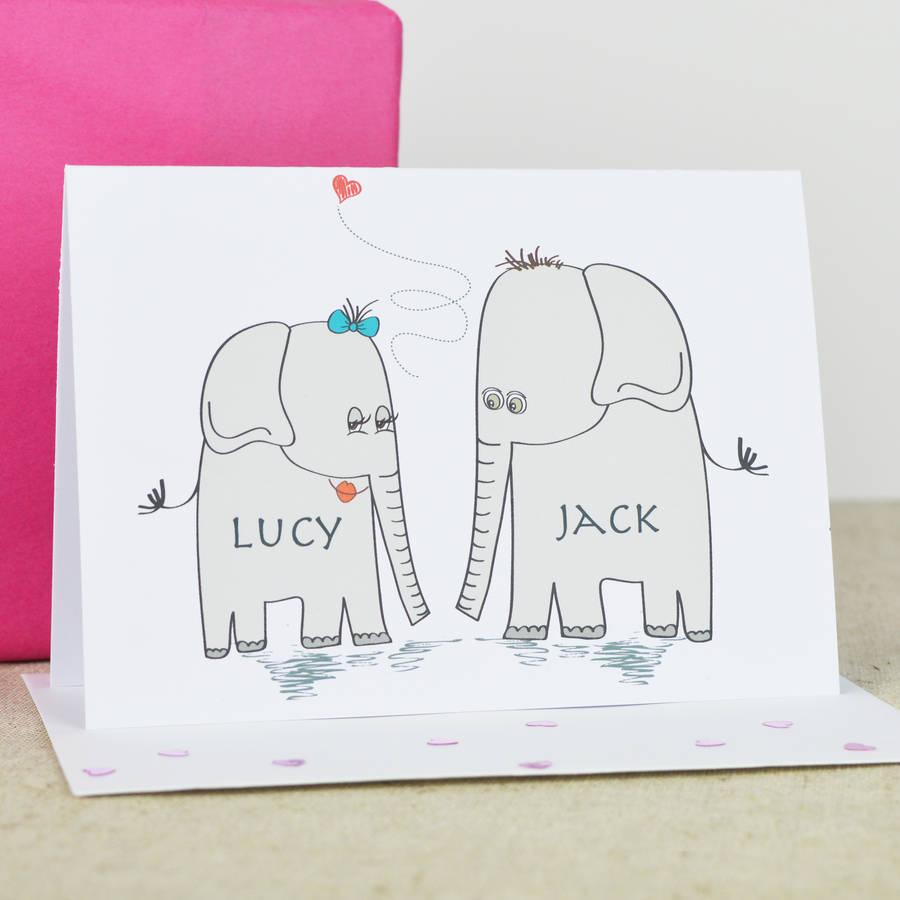 Personalised 'Elephant Love' Engagement Card