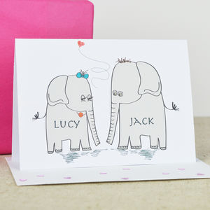 Personalised 'Elephant Love' Engagement Card - wedding, engagement & anniversary cards