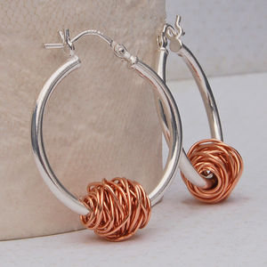 Silver And 14ct Rose Gold 'Entwined' Hoop Earrings