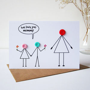 'Love You Mummy' Button Card - cards & wrap