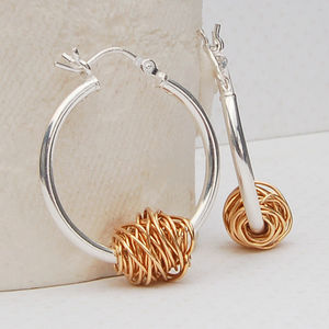Silver And 14ct Yellow Gold 'Entwined' Hoop Earrings