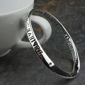 'Believe In The Impossible' Silver Word Bangle