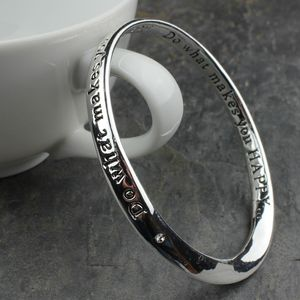 'Do What Makes You Happy' Silver Message Bangle