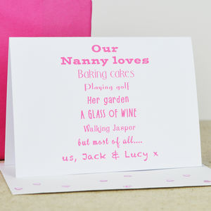 Personalised 'Nanny' Loves Card - mother's day cards