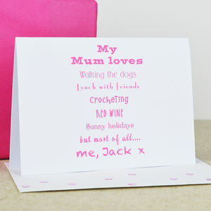 Personalised 'Mum' Loves Card - cards & wrap