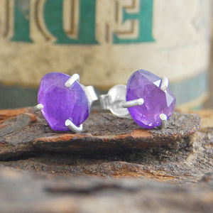 Amethyst Birthstone Silver Claw Stud Earrings