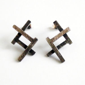 Ruins Fade Away Oxidised Stud Earrings - earrings