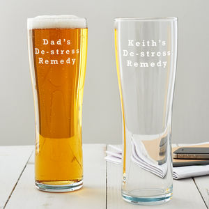 Personalised 'De Stress Remedy' Pint Glass