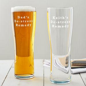 Personalised 'De Stress Remedy' Pint Glass - kitchen