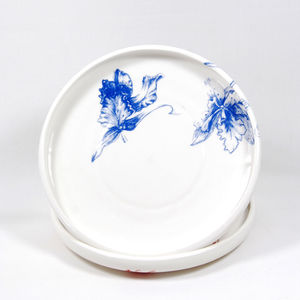 Floral Ceramic Frisbee Plates - new in home