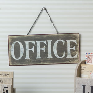 Distressed Metal Office Sign