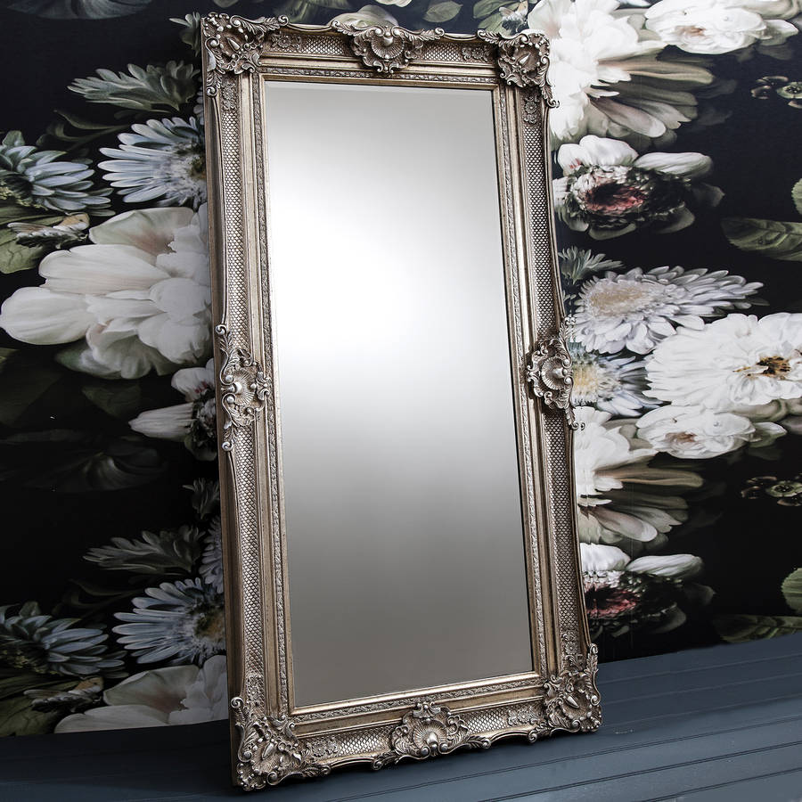 Ornate antique silver floor standing mirror by primrose for Leaner mirror
