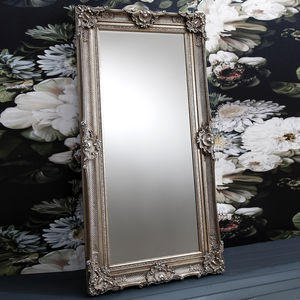 Ornate Antique Silver Floor Standing Mirror