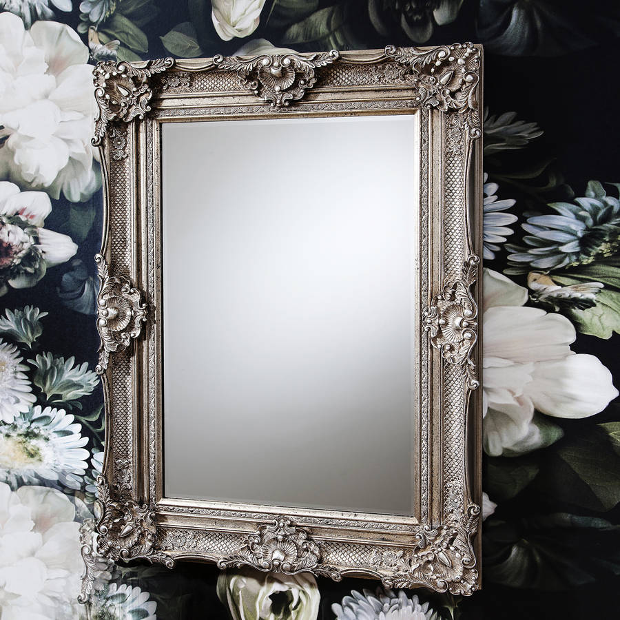 Ornate antique silver wall mirror by primrose plum for Antique wall mirrors