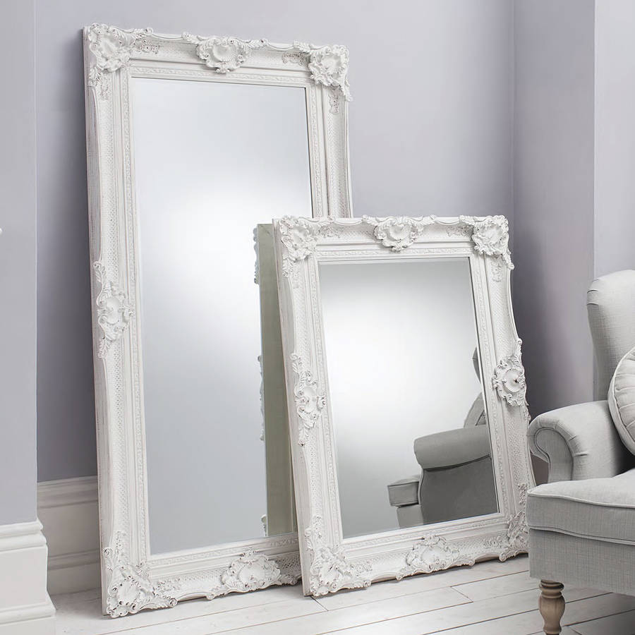 Marvelous Ornate White Wall And Floor Standing Mirror