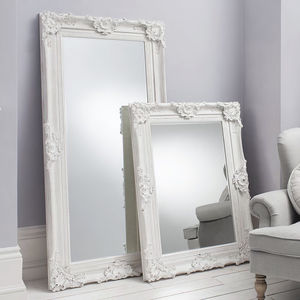 Ornate White Wall And Leaner Mirror - mirrors
