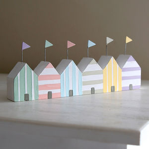 Beach Hut Row With Stripes - decorative accessories