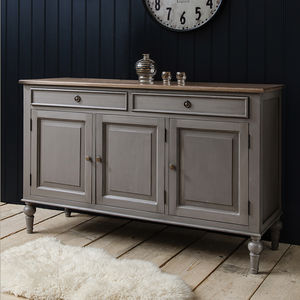Painted Grey Sideboard With Wooden Top