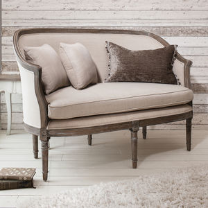 Elegant Two Seater Sofa Natural Linen