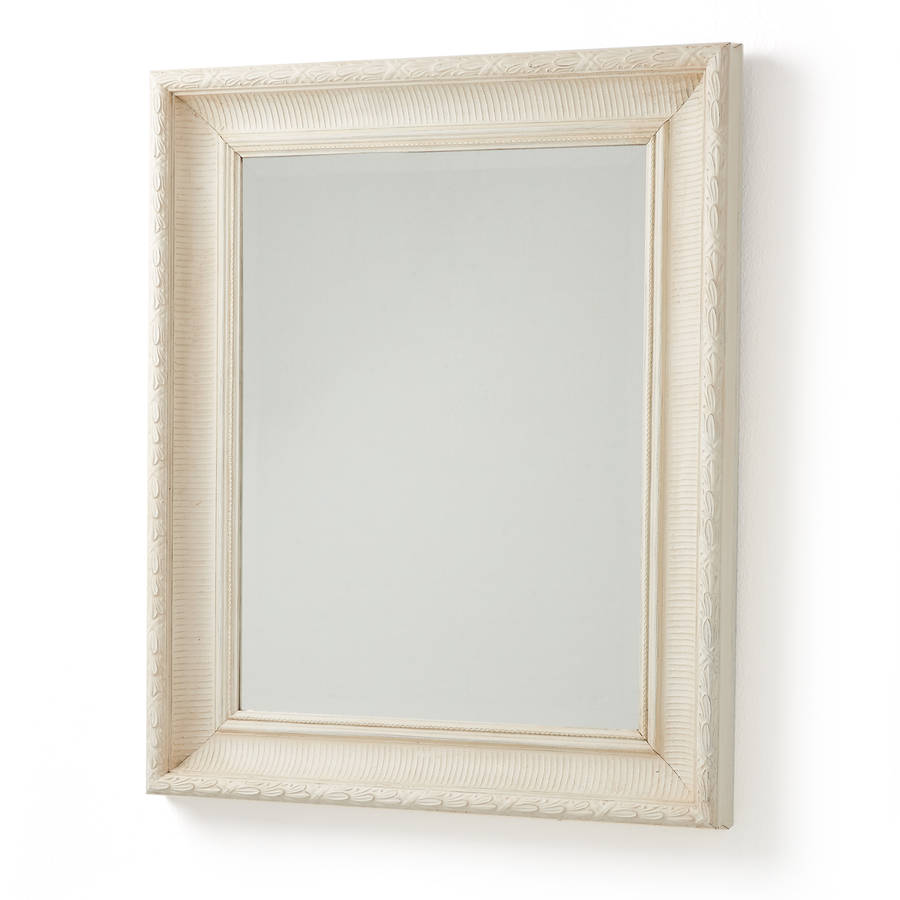 Handmade white leaf old wood framed mirror by horsfall for White framed mirror
