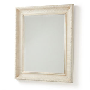 Handmade White Leaf Old Wood Framed Mirror - mirrors