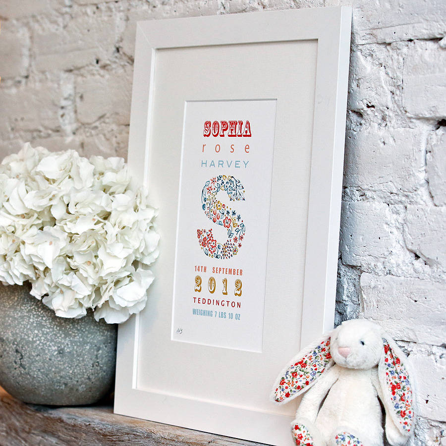 Personalised birth date print gift by little ragsmith personalised birth date print gift negle
