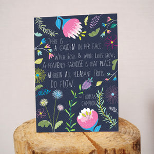 'There Is A Garden In Her Face' Card