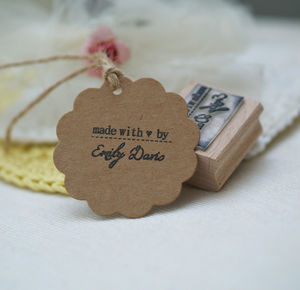 'Made With ♥ By…' Rubber Stamp - personalised