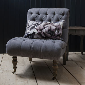 Grey Button Back Chair - furniture