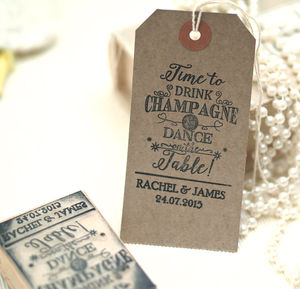 Wedding 'Time To Drink Champagne' Rubber Stamp
